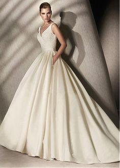 Distinctive V-neck Sleeve Sleeveless Natural Full Length Ball Gown Chapel Wedding Dresses