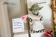 For the Star Wars fan – have Yoda welcome your guests to your out-of-this-world reception #Disney #StarWars