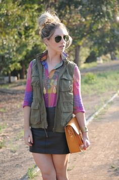 @Emily Schuman in checkered brights and a cargo vest #cupcakesandcashmere #style #fashion_blogger