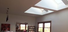 Roofrite designed & built vaulted shafts & installed Velux Skylights to create an architectural feature in this Rosanna reno. Roof Skylight, Roof Window, Skylights, Colorbond Roof, Solar, Light Well, Steel Beams, Architectural Features, Flat Roof