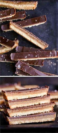 HOMEMADE TWIX BARS (GF, PALEO + VEGAN) - almond, bread, butter, caramel, chocolate, cocoa, coconut, creamy, dessert, melted, recipes, sea salt, syrup, topping, vanilla, vegan