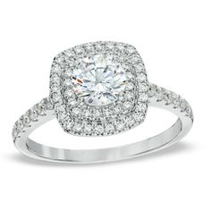 1-1/4 CT. T.W. Diamond Square Double Frame Engagement Ring in 14K White Gold*******