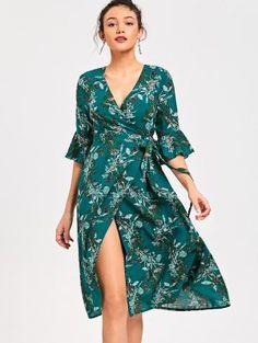 Flare Sleeve Wrap Floral Dress - Xl