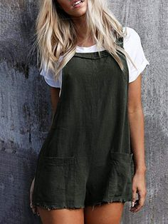 f255e8e1ff7 Summer cute Overall Strappy Pocket Baggy Romper jumpsuits shorts  women   fashion