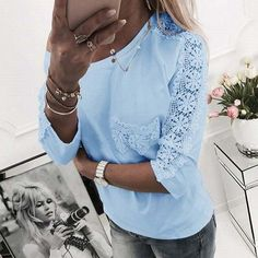 Aimsnug Plus size Women New Autumn Solid Tops Patchwork Lace Sleeve Embroidery Female Blouse Shirt Tunic Ladies blusas White Lace Blouse, Summer Tunics, The Office Shirts, Lace Print, Blouse Styles, Casual T Shirts, Lace Sleeves, Shirt Blouses, Women's Shirts