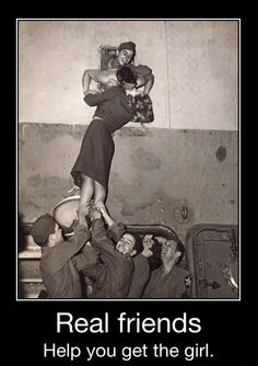 The best kind of friends.... Except for that one guy looking up her skirt. Him you should watch out for. Haha!