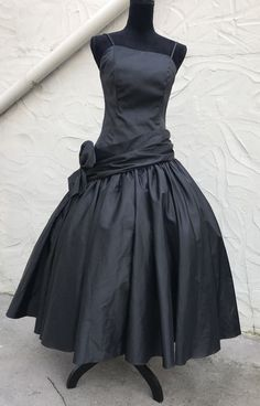 """5c9afed0c02 Vtg 80s Black Party Prom Dress Poofy Asymmetrical 34"""" Bust 28"""" Waist  Flawless"""