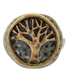 Two-tone / Lead&nickel Compliant / Metal / Tree Of Life / Stretch Ring