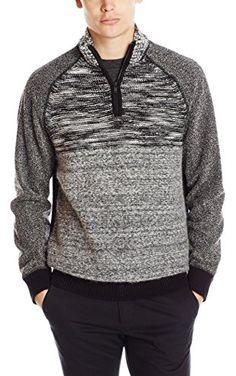 Calvin Klein Jeans Men's Terry 1/4 Zip Sweater, Black, Large ❤ Calvin Klein Jeans Men's Collection