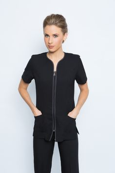 We create & supply elegant, comfortable spa uniforms and medical scrubs for businesses in Australia. Find the perfect uniform design to add class & style to your spa's presetation. Salon Uniform, Spa Uniform, Uniform Ideas, Spring Spa, Work Uniforms, Uniform Design, Professional Look, Work Looks, Skinny Legs
