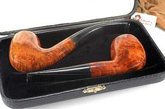 Alfred Dunhill Amber Root 2 Pipes Set .
