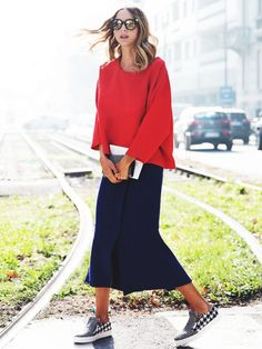 Tip of the Day: Punch Up Your Outfit With a Pop of Red via @WhoWhatWear