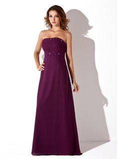 Empire Strapless Floor-Length Chiffon Bridesmaid Dress With Ruffle Beading (007001776) - JJsHouse