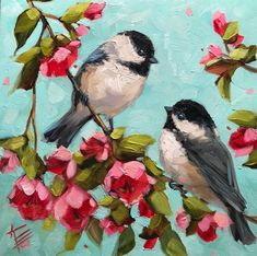 Bird Paintings On Canvas, Bird Painting Acrylic, Love Birds Painting, Diy Canvas Art, Nature Paintings, Animal Paintings, Watercolor Bird, Art Painting Flowers, Nature Oil Painting