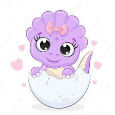 Bday Girl, 1st Birthday Girls, Crochet Toys Patterns, Stuffed Toys Patterns, 1st Birthday Girl Decorations, Dinosaur Images, Dinosaur Illustration, Girl Dinosaur, Portrait Cartoon