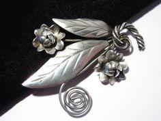 Vintage Hand Made Sterling Brooch Leaf Flower Swirl Patten (27.50 USD) by darsjewelrybox