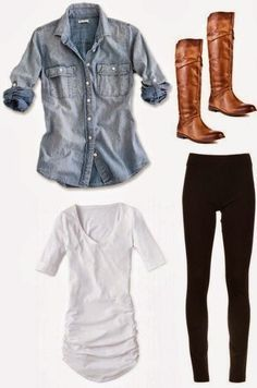 Love this basic outfit combo - white tank, denim button up, l,eggnogs, and brown boots.