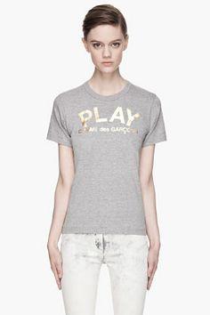 Comme Des Garçons Play Grey Foil Print T-shirt for women | SSENSE