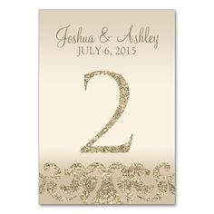 Glitter Look Wedding Table Numbers-Table Card 21 This modern table card design features faux gold glitter accents with a champagne background. Perfect for elegant and modern weddings. The table number cards go up to Card Table Wedding, Wedding Table Numbers, Wedding Reception Decorations, Wedding Cards, Wedding Invitations, Wedding Ideas, Wedding Fun, Wedding Receptions, Wedding Book