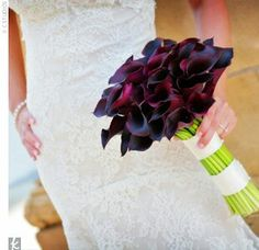 Hand Tied Bridal Bouquet Of Aubergine Calla Lilies