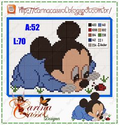 Mickey Mouse x-stitch Baby Mickey Mouse, Mickey Mouse And Friends, Cross Stitch Baby, Cross Stitch Charts, Modern Cross Stitch Patterns, Cross Stitch Designs, Cross Stitching, Cross Stitch Embroidery, Baby Cartoon Characters