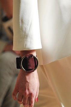 Celine : 2012SS Suede Leather Cuff | Sumally  NOTE: Reminder-Clasp similar to the one in fair trade store