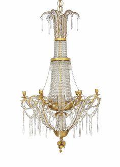 AN AUSTRIAN ORMOLU AND CUT-GLASS SIX-LIGHT CHANDELIER - VIENNA, CIRCA 1800