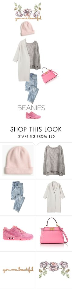 """Untitled #312"" by katu11 ❤ liked on Polyvore featuring J.Crew, Wrap, Monki, NIKE, Fendi, Universal Lighting and Decor and beanies"