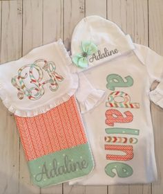 Baby bibs, Decide to purchase newborn bibs inclusive of multipack bibs, coverall bibs, tired farmstead bibs, crumbcatcher bibs. Baby Embroidery, Baby Girl Embroidery Ideas, Baby Coming Home Outfit, Baby Monogram, Baby Gown, Everything Baby, Baby Sewing, Baby Bibs, Couture