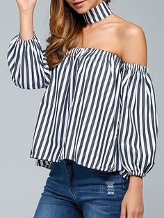 Striped Off The Shoulder Top With Choker in White And Black | Sammydress.com