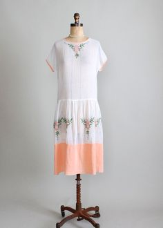 Vintage 1920s Embroidered Cotton batiste day dress. | Raleigh Vintage. Kathie says - 1925-29