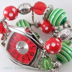 This festive watch face and band features resin beads, acrylic beads, silver plated beads & on strong stretchy cord. Only $30 for both band and watch face!
