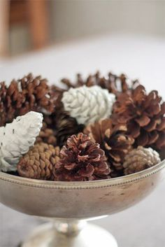 Natural & Paint-dipped pine cones centerpiece for the fall ~ 6 Simple DIY Thanksgiving Centerpieces Pinecone Centerpiece, Diy Thanksgiving Centerpieces, Thanksgiving Tablescapes, Thanksgiving Holiday, Centrepieces, Centerpiece Ideas, All Things Christmas, Winter Christmas, Christmas Hacks