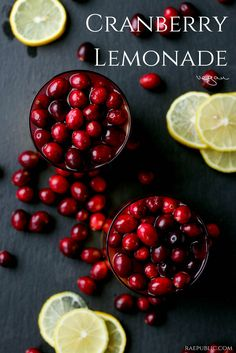 Easy vegan cranberry lemonade made from all-natural cranberry juice, fresh-squeezed lemon juice and organic cranberries.