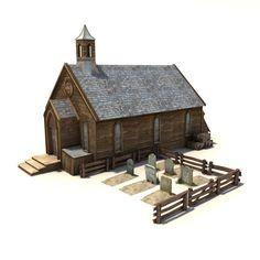 old wild west church 3d model