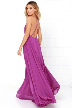 The Mythical Kind of Love Purple Maxi Dress is simply irresistible in every single way! Lightweight Georgette forms a fitted bodice with princess seams and an apron neckline supported by adjustable spaghetti straps that crisscross atop a sultry open back. A billowing maxi skirt cascades from a fitted waistline into an elegant finale, perfect for any special occasion! Hidden back zipper with clasp.