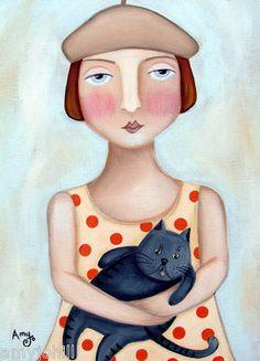 """Grey Matter"". Original Folk Art Painting by Amy Jo Hill"
