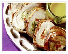 Ingredients: Four boneless pork chops 1 teaspoon kosher salt 1 teaspoon freshly cracked pepper 10 thick-cut applewood-smoked o. Healthy Pork Recipes, Barbecue Recipes, Entree Recipes, Meat Recipes, Wine Recipes, Real Food Recipes, Cooking Recipes, Yummy Recipes, Smoker Recipes