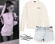 Ariana Grande posted a picture a few days ago wearing a Coach Lucy Intarsia Crewneck Sweater ($295.00) and Free People Lacey Denim Cutoff Shorts ($88.00).