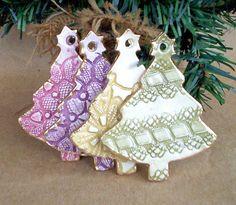 Set of FOUR Ceramic Christmas Tree Ornaments