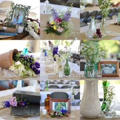 different center pieces at each table... all collected at garage and estate sales!