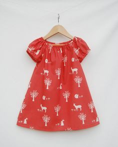 Coral Eco - Friendly Sundress - Organic Peasant Dress for Girls - Woodland Print - Organic Clothing