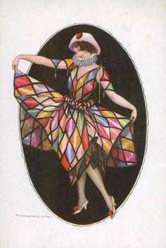 T Corbella postcard, Columbine, 1920s  Always liked Colombina :)