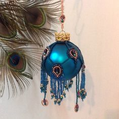 Beaded Christmas ornament cover/Finished/ Crowned Peacock Christmas ornament…