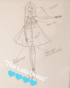"""Another fab new design """"the Lola dress"""" is a Baby doll length dress ideal for Spring/Summer  Trapeze style   higher waist line with a button shirt dress effect for a design feature but also to be practical with smaller kids and babies  first in our fab beautiful blue Heart print but can come in any of our fab prints limited stock What do you think ?#linzyo #childrenswear #prettydresses #handmade #irishdesigner #insta #illustration #design #girlswear #heart #prettyprints"""