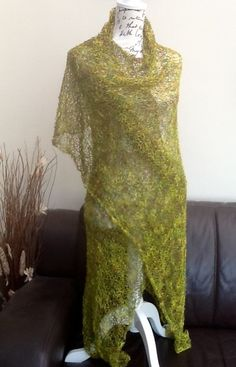 Woodland Elf.  Hand Knitted Lacy Shawl or Wrap. £35.00