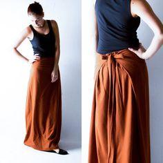 Wool skirt Wrap skirt Maxi Skirt Long skirt Orange by larimeloom