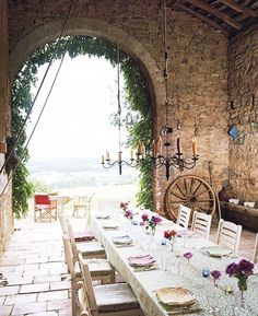 Come see photos of beautiful French Country decor within these Provence-inspired interiors in France and outside of France. Get lovely decorating ideas and glimpses of rustic elegance, effortless undone charm, and simple sophistication. Outdoor Rooms, Outdoor Dining, Indoor Outdoor, Rustic Outdoor, Porches, Ireland Homes, Al Fresco Dining, Yoga Retreat, French Provincial