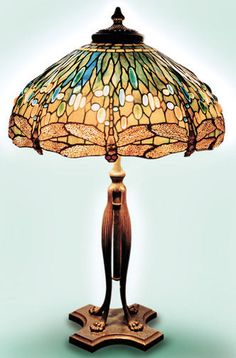 Dragonfly lamp, leaded glass and bronze, Tiffany Studios, U.S.A., early 20th century