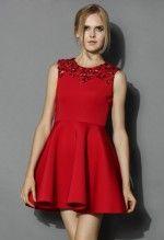 Enchanting Red Embellished Skater Dress